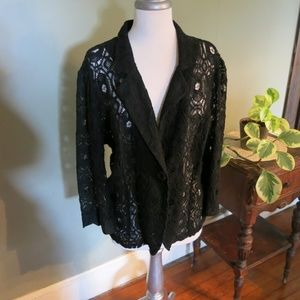 Cato Black Lace Blazer-Long Sleeve with Button